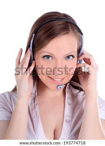 Portrait of happy smiling cheerful customer support phone operator in headset