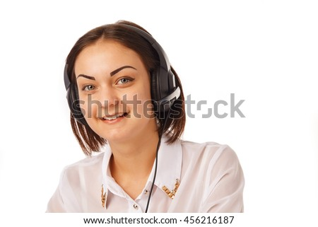 Portrait of happy smiling cheerful support phone operator in headset