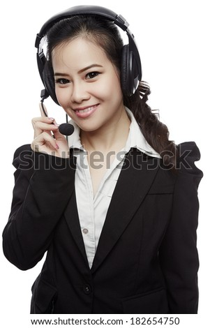 Portrait of happy smiling cheerful support phone operator in headset - Isolated white background.