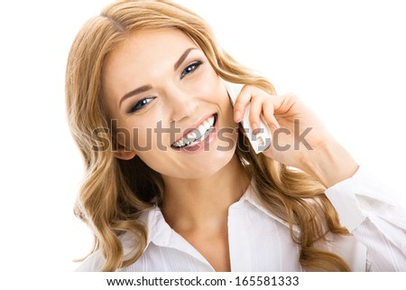 Portrait of happy smiling cheerful young businesswoman with phone or support operator, isolated over white background