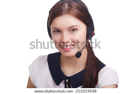 Portrait of happy smiling cheerful young support phone operator - stock photo