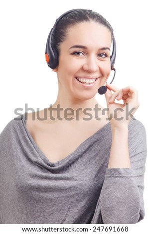 Portrait of happy smiling cheerful young support phone operator in headset isolated on white background - stock photo