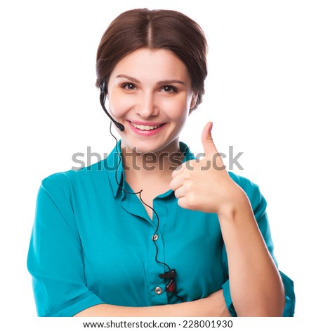 Portrait of happy smiling cheerful young support phone operator in headset showing copyspace area or something, isolated over white background - stock photo