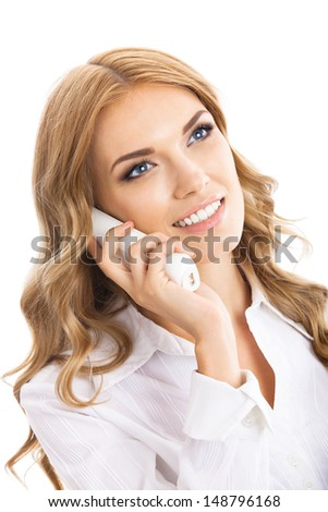 Portrait of happy smiling cheerful young support phone operator or business woman with office phone, isolated over white background
