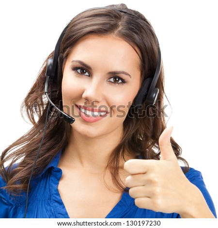 Portrait of happy smiling cheerful young support phone operator showing thumbs up gesture, isolated over white background - stock photo