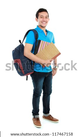 portrait of Happy smiling college student with book and bag isolated on white background - stock photo