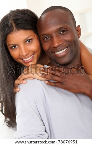 Portrait of happy smiling couple - stock photo