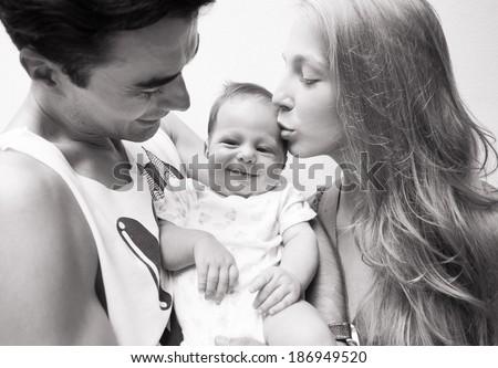 Portrait of happy smiling family. - stock photo