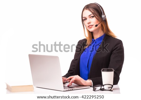 Portrait of happy smiling female customer support phone operator at workplace. - stock photo
