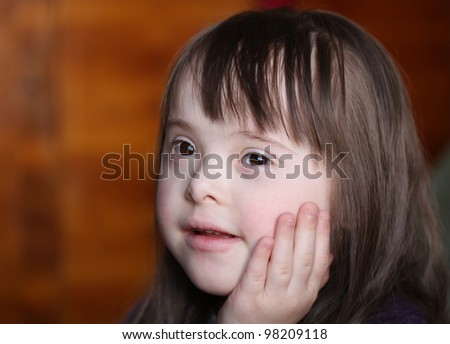Portrait of happy smiling girl - stock photo