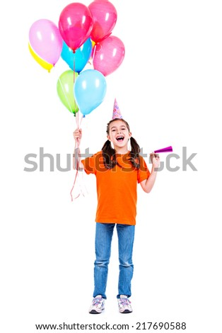 Portrait of happy smiling girl in orange t-shirt holding colorful balloons - isolated on a white. - stock photo