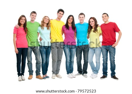 Portrait of happy smiling group of young friends together isolated on white background - stock photo