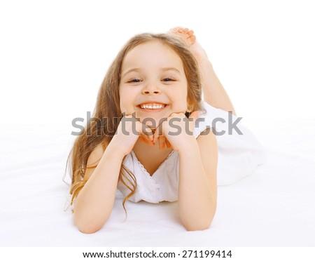 Portrait of happy smiling little girl child having fun - stock photo