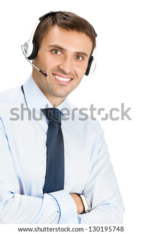 Portrait of happy smiling male customer support phone operator in headset, isolated over white background - stock photo