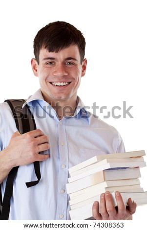 Portrait of happy smiling male student with books. Isolated on white background - stock photo