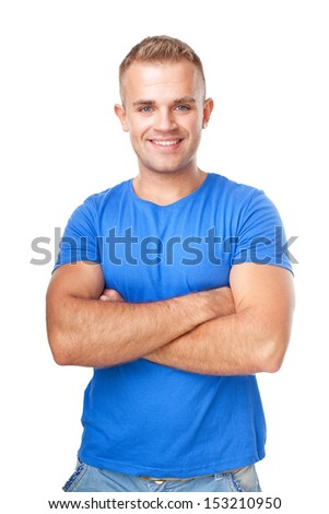 Portrait of happy smiling man standing with hands folded against isolated on white background