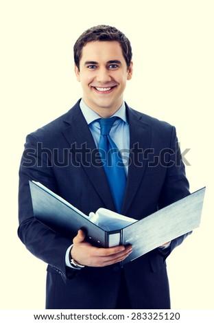 Portrait of happy smiling senior businessman with black folder - stock photo