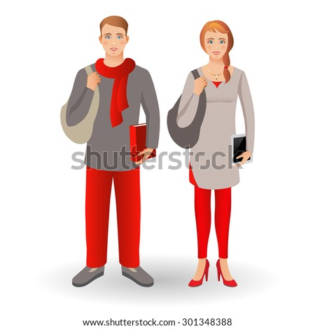 Portrait of happy smiling student or young man standing with folder and young women standing with tablet, isolated on white background.Family, brother and sister. Set. - stock photo