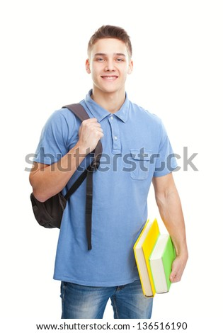 Portrait of happy smiling student with books and backpack isolated on white background - stock photo