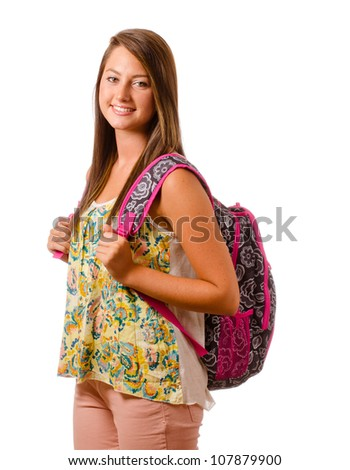 Portrait of happy smiling teenage schoolgirl with backpack isolated on white - stock photo