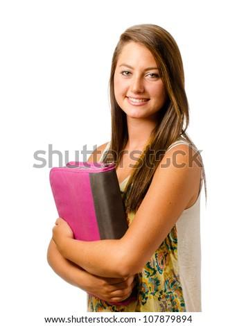 Portrait of happy smiling teenage schoolgirl with binder isolated on white - stock photo