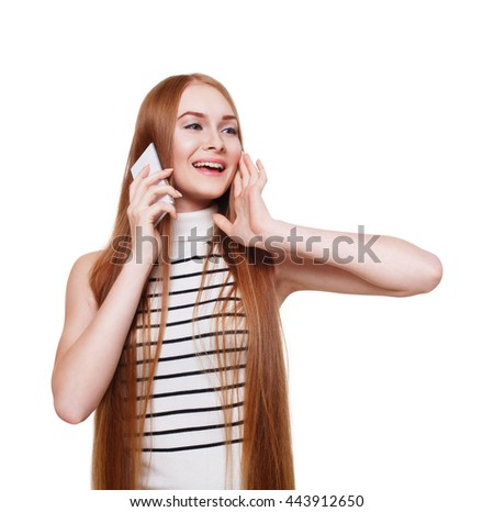 Portrait of happy smiling woman calling mobile and laughing. Young redhead girl talking on cell phone with her friend. Female portrait isolated at white, modern communication technology concept. - stock photo