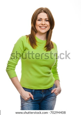 Portrait of happy smiling woman dressed in a green blouse, Isolated on white background - stock photo