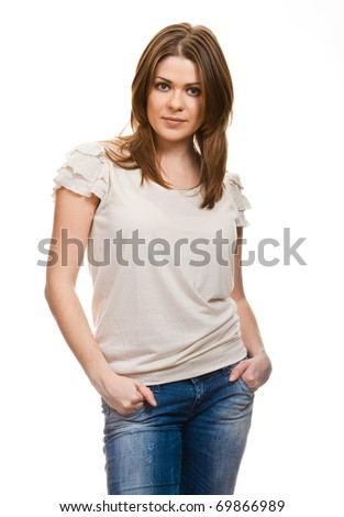 Portrait of happy smiling woman dressed in a white blouse stay against white background - stock photo