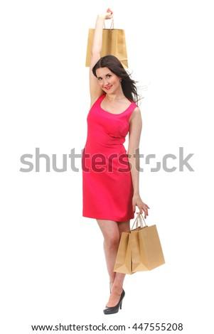 Portrait of happy smiling woman hold eco friendly shopping bag. Female model isolated studio background. - stock photo