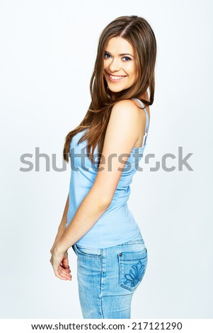 portrait of happy smiling woman isolated over white background . model with long hair posing in studio - stock photo