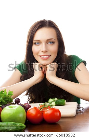 Portrait of happy smiling woman with vegetarian food, isolated on white background