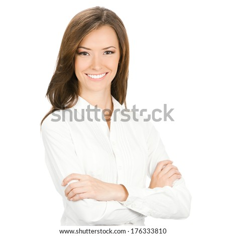 Portrait of happy smiling young cheerful business woman, isolated on white background