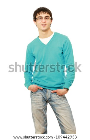 Portrait of happy smiling young man wearing glasses, isolated on white background