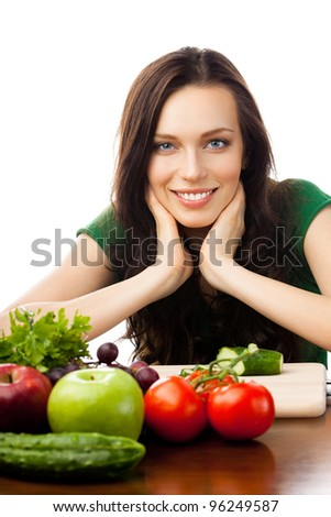 Portrait of happy smiling young woman with vegetarian food, isolated over white background