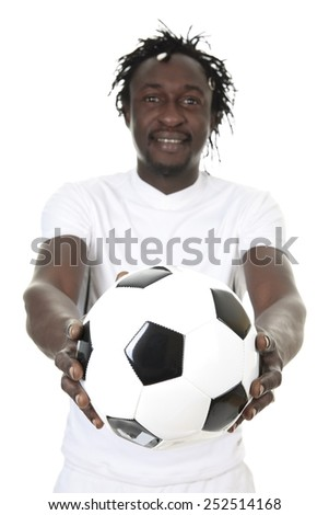 Portrait Of Happy Soccer Player Isolated Over White Background