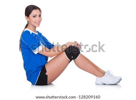 Portrait Of Happy Sporty Woman. Isolated On White