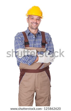 Portrait Of Happy Technician Isolated On White Background - stock photo