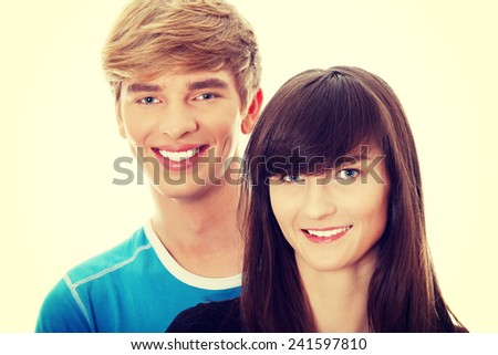 Portrait of happy two friends - stock photo