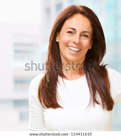 Portrait of happy woman, indoor - stock photo
