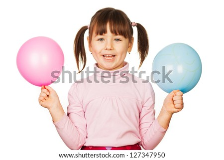 Portrait of happy woman with blue and pink balloons, white background.