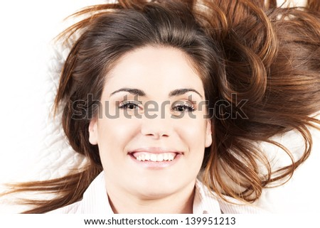 portrait of happy woman with Long Hair