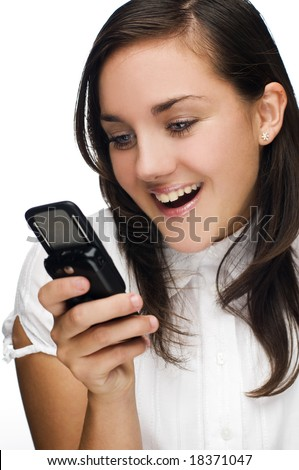 portrait of happy woman with mobile phone - stock photo