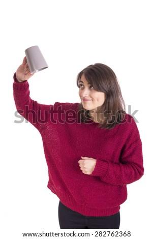 Portrait of happy women holding coffee - stock photo