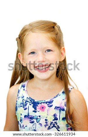 Portrait of happy 5 years old girl isolated on white background - stock photo