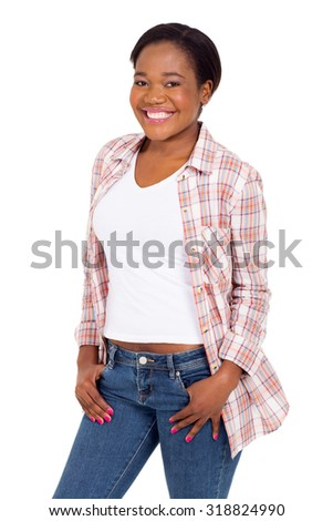 portrait of happy young african american girl on white background - stock photo