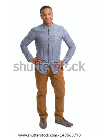 Portrait Of Happy Young African Man Over White Background - stock photo