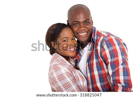 portrait of happy young african married couple