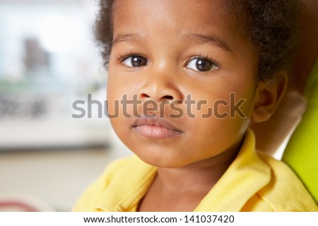 Portrait Of Happy Young Boy At Home - stock photo