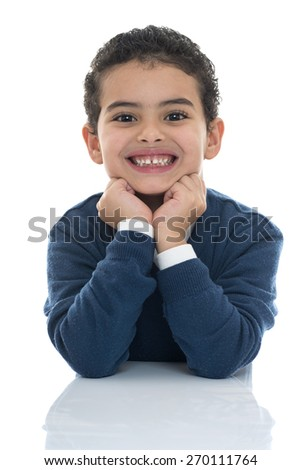 Portrait of Happy Young Boy Smiling Isolated on White Background - stock photo