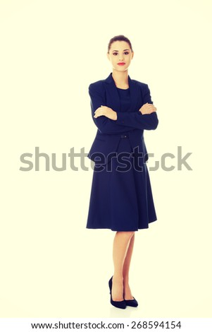 Portrait of happy young business woman. - stock photo